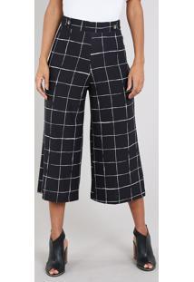 Calça Feminina Pantacourt Estampada Quadriculada Com Martingale E Botão Preta