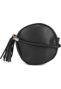 Bolsa Pagani Mini Bag Redonda Alça Tressê Barbicachos Feminina - Feminino-Preto