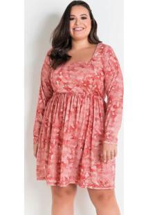 Vestido Tie Dye Com Recorte Plus Size