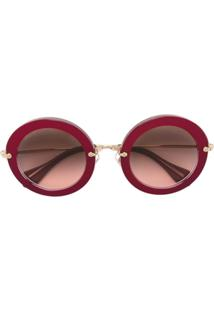 e94bf6b9467d8 Miu Miu Eyewear Óculos De Sol Redondo - Rosa