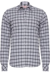 Camisa Masculina Xadrez Carbon - Cinza