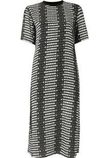 Armani Exchange Vestido Reto Estampado - Preto