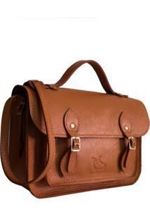 Bolsa Line Store Leather Satchel Pequena Couro Caramelo. - Kanui