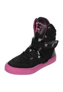 Sneaker Fitness Cheia De Marra 1001 Preto / Rosa