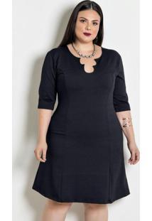 Vestido Jacquard Mangas 3/4 Plus Size Preta