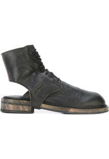 Ann Demeulemeester Ankle Boot De Couro Com Recorte - Preto