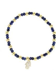 Pulseira Piuka Acessórios Pietra Lápis Lazuli Mão De Fátima Pequena Zircônia Banhada A Ouro 18K Turquesa