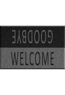 Capacho De Vinil Welcome/Goodbye Preto Único Love Decor