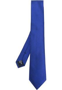 Emporio Armani Gravata De Seda Com Poás - Azul