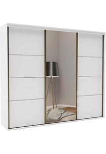 Guarda-Roupa Aludra 2270 Mdf Branco C/ Espelho 3 Portas E 4 Gavetas