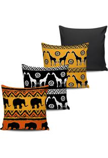 Kit 4 Capas Almofadas Etnica Animais Africa 45X45Cm