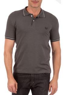 Camisa Polo Masculina Cinza Chumbo Com Detalhe - P