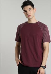 Camiseta Masculina Raglan Básica Manga Curta Decote Careca Vinho