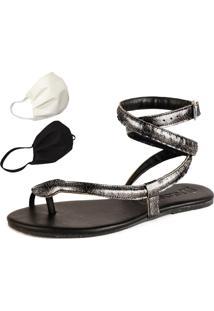 Sandalia Rasteira Mercedita Shoes Cobra Onix + Brinde - Tricae
