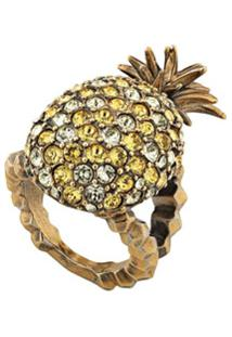 Gucci Crystal Studded Pineapple Ring In Metal - Dourado