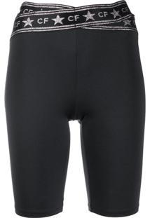 Chiara Ferragni Bermuda Slim Com Estampa De Logo - Preto