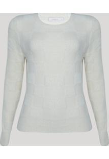 Suéter De Tricô Felpudo Feminino Decote Redondo Off White