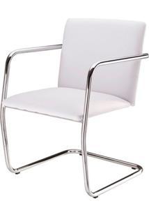 Cadeira Bruno Assento Estofado Dunas Branco Com Base Cromada - 46905 - Sun House