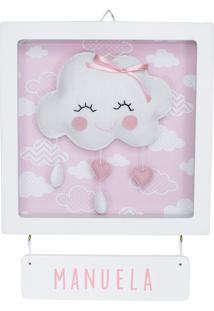 Enfeite Maternidade Chuva Amor Nuvem Rosa Chevron Bebê Nome Potinho De Mel - Kanui