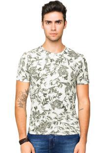 Camiseta Tony Menswear Estampa Folhagem 100% Algodão Verde
