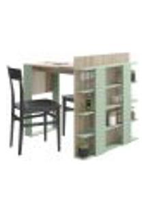 Mesa De Cozinha Com Prateleiras Smart 1002 Aveiro E Verde