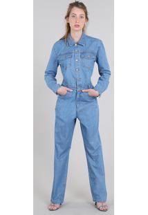 Macacão Jeans Feminino Mindset Com Bolsos Manga Longa Azul Claro