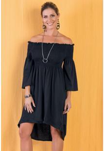 Vestido Modelo Ciganinha Preto