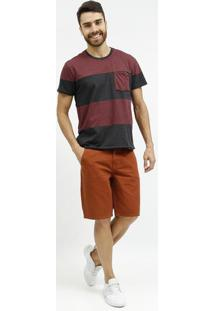 Camiseta Mescla Listrada Com Bolso- Bordã´ & Cinza- Tforum