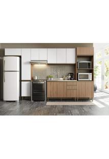 Cozinha Completa 6 Peças 14 Portas Be Mobiliário Madeira/Branco