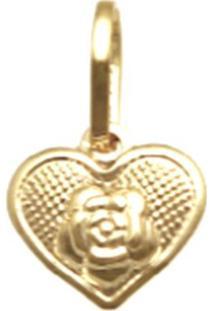 Pingente Prata Mil Ouro Coração Rosa Ouro