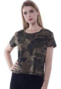Blusa T-Shirt Camuflada Com Aplicação Tachas Pop Me Feminina - Feminino-Verde
