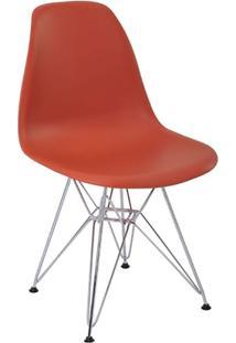 Cadeira Eames Eiffel Rivatti Sem Braço Pp Base Cromada Laranja Telha