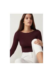 Blusa Tubinho Em Decote Barco Em Lã E Seda - Vermelho G