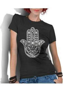 Camiseta Criativa Urbana Hamsá Mão De Fátima - Feminino-Preto