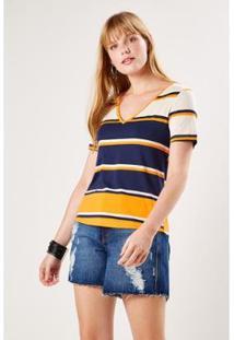 Camiseta Malha Listra Linem Sacada Feminina - Feminino-Laranja