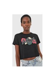 Camiseta Cropped Aeropostale Logo Floral Preta