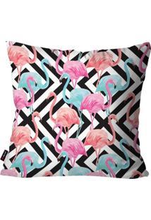 Capa De Almofada Decorativa Avulsa Branco Geométrica Flamingos 45X45Cm Pump Up