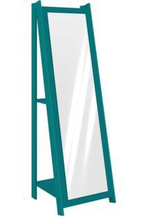 Espelho De Chão Com 2 Prateleiras Retrô 161Cmx50Cm Movelbento Turquesa