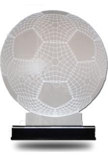 Abajur/Luminária Em Acrílico Com Led Branco Bola De Futebol