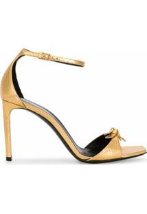 Saint Laurent Sandália Bea Com Detalhe De Laço - Dourado