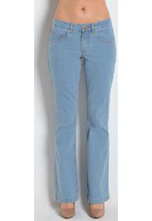 Calça Jeans Boot Cut-Perna Larguinha Azul Claro