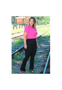 Calça Flare Almaria Plus Size Fact Jeans Alfaiataria Preto