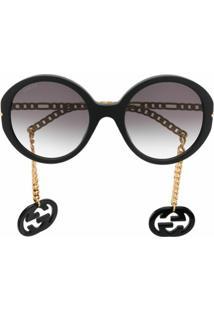 Gucci Eyewear Óculos De Sol Oversized Com Enfeito Removível - Preto