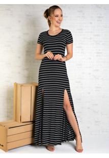 Vestido Longo Listrado Preto Com Fendas Frontais