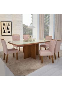Mesa De Jantar Sono Show 1,60M Com Vidro Offwhite + 6 Cadeiras Sono Show Tecido 2028 - Amêndoa