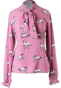 Camisa Mania De Sophia Laço Cavalos Rosa