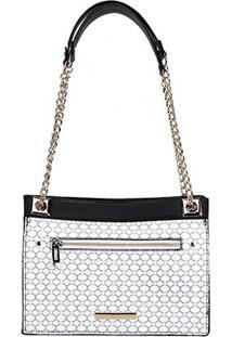 Bolsa Couro Jorge Bischoff Handbag Corrente Estampada Feminina - Feminino-Branco+Preto