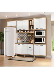 Cozinha Compacta Sem Tampo 4 Peças 5828-S14 Sicília - Multimóveis - Argila Acetinado / Branco Acetinado