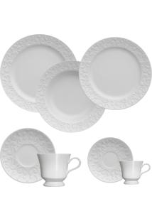Aparelho De Jantar E Chá Tassel Germer Porcelanas, 42 Peças Branco