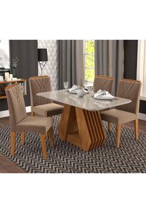 Conjunto De Mesa Com 4 Cadeiras Para Sala De Jantar 130X80 Agata/Nicole-Cimol - Savana / Off White / Pluma